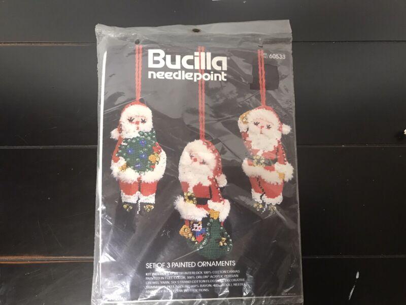 VTG BUCILLA Needlepoint # 60533- 3 X Painted Ornaments- Santa Claus