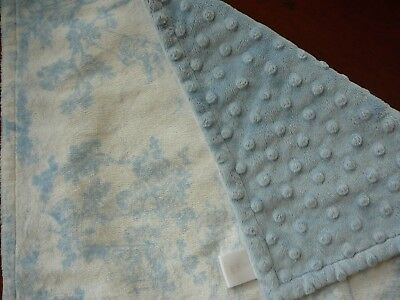 The Bib Shoppe Blue Toile /Minky Dot Baby Girl Security Blanket Lovely! (Toile Baby Girl)