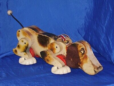 Vintage 1961 Fisher Price Snoopy Wooden Pull Toy #181