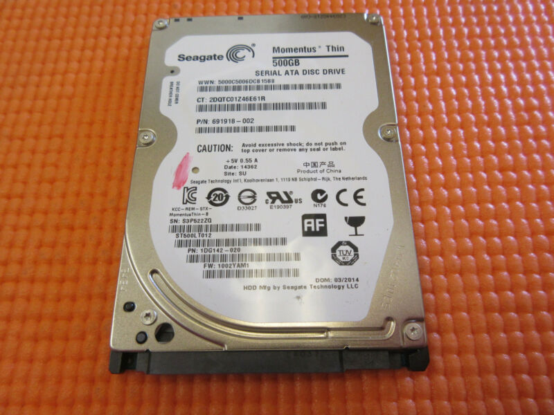"Seagate Momentus Thin 500GB 5400RPM 2.5"" SATA Laptop Hard Drive ST500LT012"