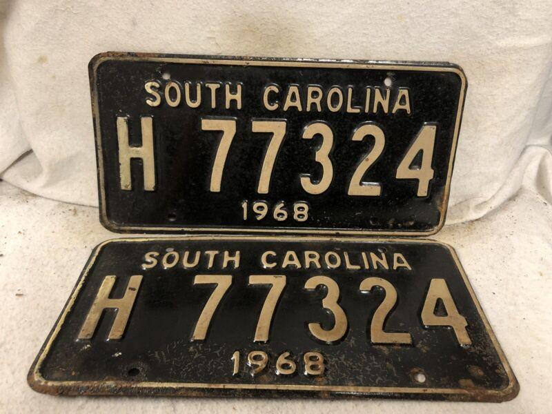 Vintage 1968 South Carolina License Plate Pair