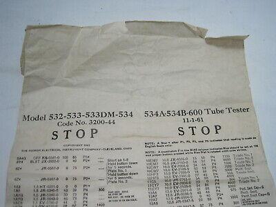 Hickok Model 532 533 534 600 Tube Tester Roll Scroll Tube Chart