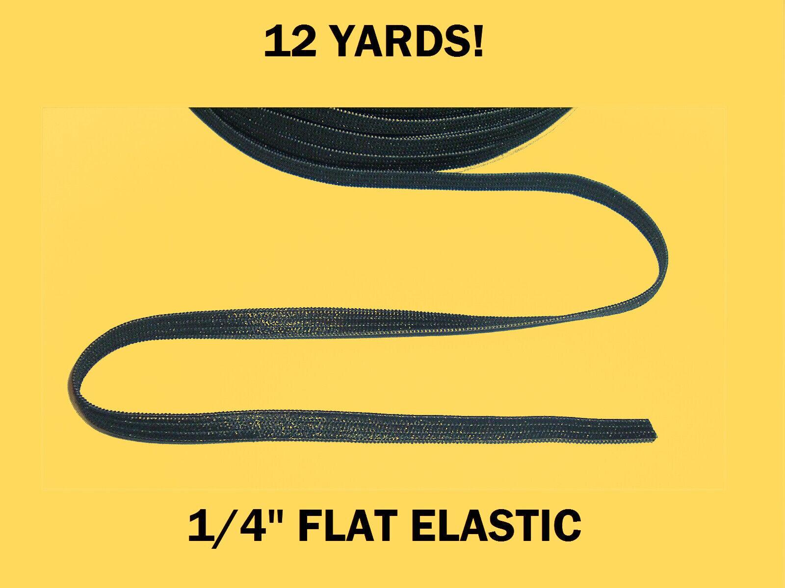 "12 YARDS 1/4"" Black Knitted Flat Stretch Elastic, Mask DIY E"