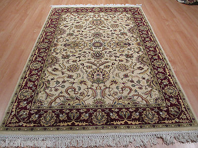4x6 Super FINE Persian Tabriz Intricate Handmade-Knotted Silk/Wool RUG 580627