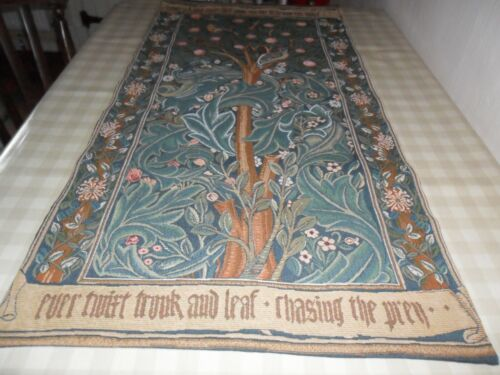 Vintage French William Morris The Woodpecker Wall Hanging Tapestry