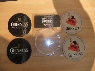 4 x GUINNESS  GENUINE CORK BACKED  HEAT RESISTANT COASTERS NEW 2X BLACK 2X WHITE