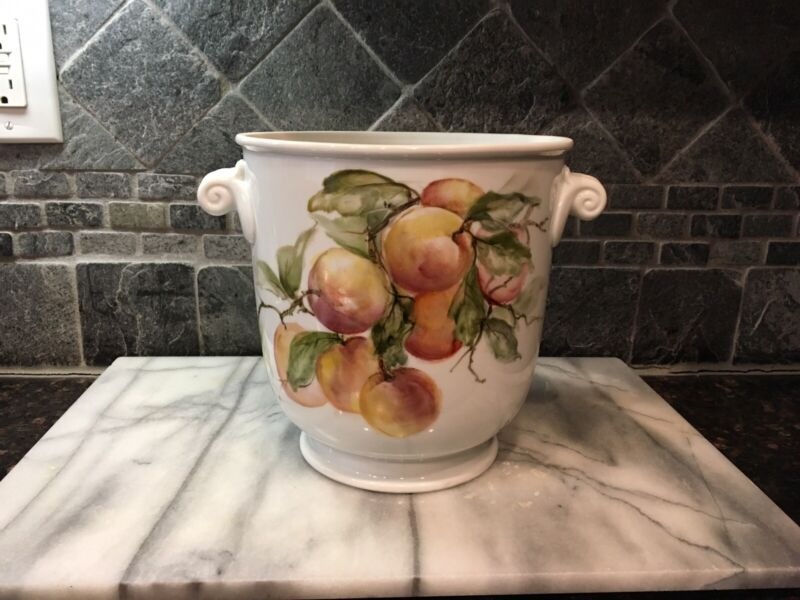"Hand Painted Porcelain Jardiniere Cache Pot, Signed - ~8x9.5"". Beautiful Peaches"