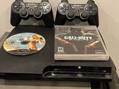 Sony Playstation 3 120 GB Slim Console System 2 Wireless Controllers , No Wires
