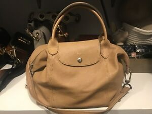 Long Champ Le Pliage Cuir Small Bag in Beige
