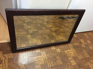 Old Hall Mirror Beveled Glass Solid Wood Frame Wooden Antique