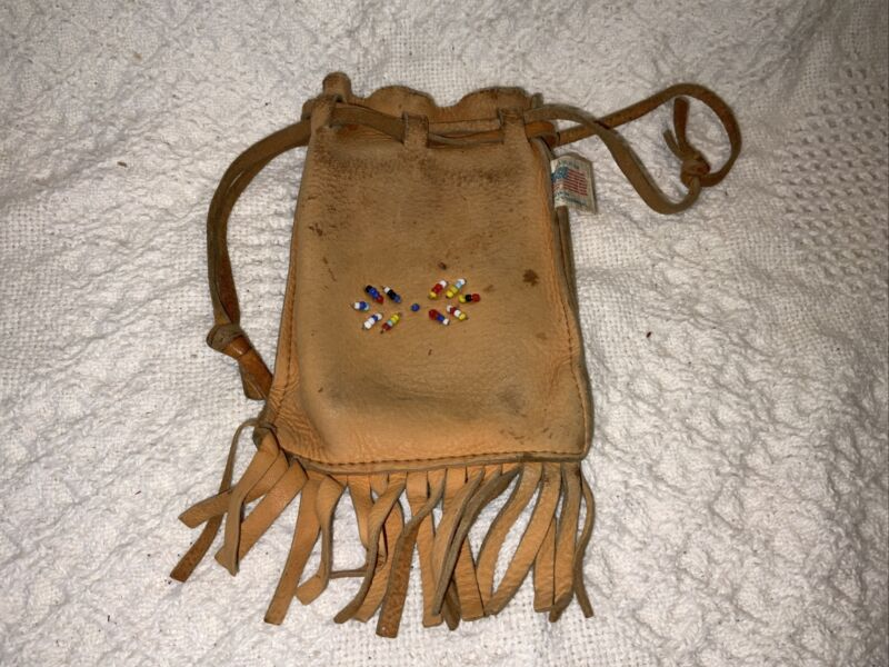 VINTAGE LEATHER POUCH INDIAN BEAD INLAY MARBLE COIN...