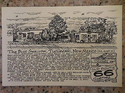 BLUE SWALLOW motel Tucumcari NM by Late Bob Waldmire Artist Route 66 Post card