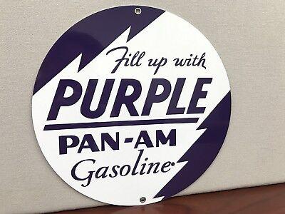 Pan Am Purple Panam Oil gasoline racing vintage Round Metal sign