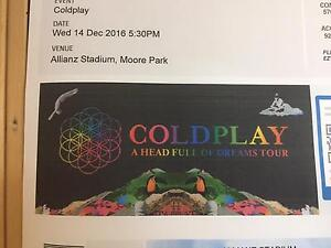 2 x platinum Coldplay tickets - Sydney Farrer Woden Valley Preview