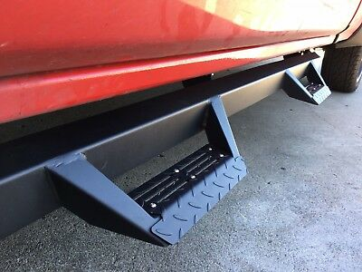 07-18 SILVERADO SIERRA CREW Cab TEXTURE BLK Nerf Bars Side Steps Running Boards