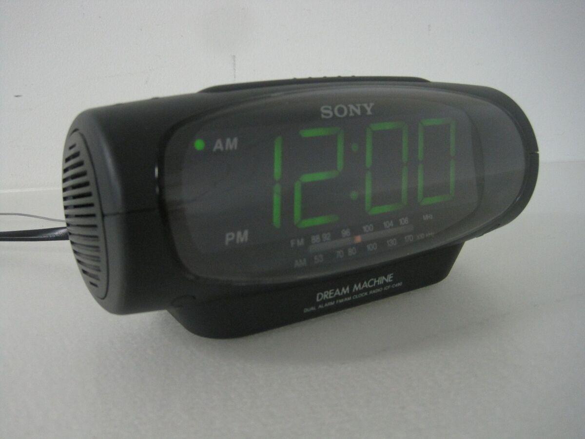 Sony Dream Machine ICF Dual Alarm FM Am Clock Radio Black Contemporary Green LED