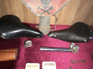 2 VINTAGE GERMAN BICYCLE LEATHER SEATS + ATTACHMENTS