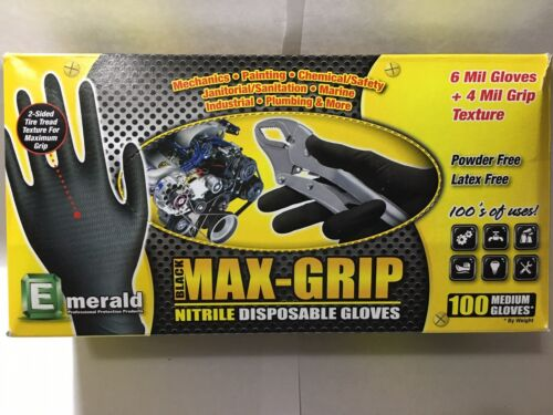 Emerald Z5000 LG 6MIL+ 4MIL Grip Black MAX-GRIP Nitrile Gloves 100 By Weight