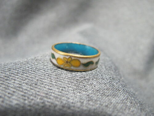 Vintage chinese flowers & leaves cloisonne enamel ring size 8