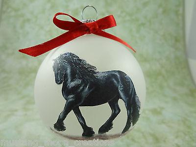 H031 Hand-made Christmas Ornament HORSE- black friesian trot
