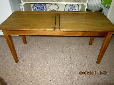 VINTAGE DOUBLE WOODEN CHILDS SCHOOL DESK WITH 2 LIFT UP LIDS