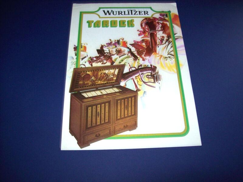 TAROCK By WURLITZER 1975 ORIGINAL JUKEBOX PHONOGRAPH SALES FLYER BROCHURE