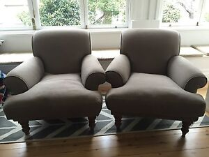 2 X Linen Armchairs - Made in the UK - Hardly Used Mosman Mosman Area Preview