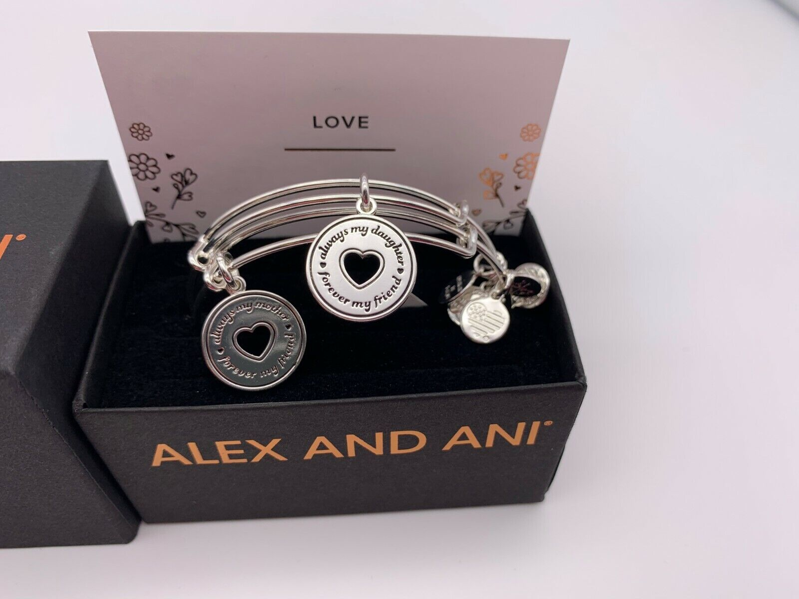 NEW Alex and Ani ALWAYS MINE SET OF 2 Silver Charm Bangle Br