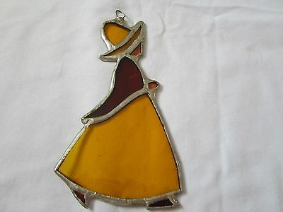 """Vintage 60,s or 70,s Stain glass Lady with hat 6 1/2"""" X 3 3/4""""  hand made"""