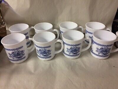 Lot of 8 VINTAGE ARCOPAL HONORINE BLUE AND WHITE COFFEE CUPS MADE FRANCE