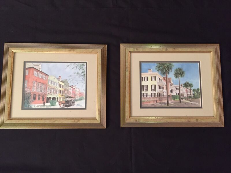 Pair Of Ann Charlton Gold Framed Prints South Battery And Rainbow Row
