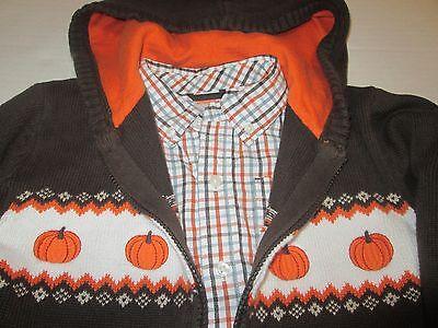 Gymboree boys pumpkin sweater jacket hoodie plaid shirt vest Holiday 5T 5 6