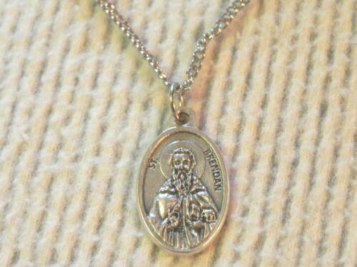 Saint Brendan Medal necklace St St. Sailors Navigators Irish Catholic metal