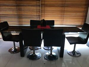 Glass top dining table with 6 black leather chairs Donvale Manningham Area Preview