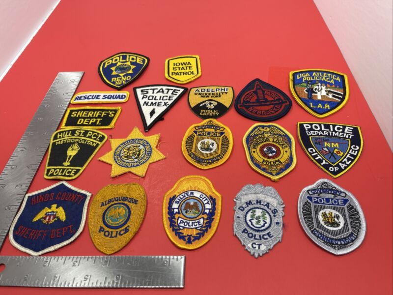 LOT OF 18 SMALL POLICE PATCHES