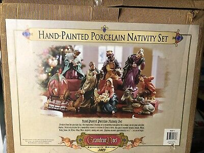 Grandeur Noel Collector's Edition 2003 Hand Painted Porcelain Nativity Set