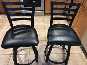 Black steel and leather chair set  Cambridge Kitchener Area image 1