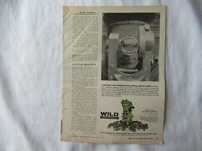 1961 Wild Heerbrugg T-16 Transit Theodolite Print Ad