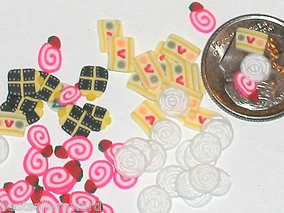 Fairy Food Candy - 20pc Miniature dollhouse tiny lot of fairy glitter Candy rose food MIX *New