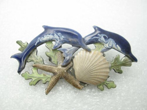 Pair Dolphins Sea Shell Star Fish Lapel Pin (A127)