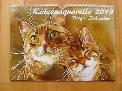 Kalender 2019 mit Katzenaquarellen von Birgit Schneiker, DIN A4 - Katzenkalender