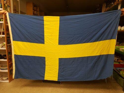 Big Swedish Maritime Flag. Vintage Original Flag from Ship. Sweden, Sverige.