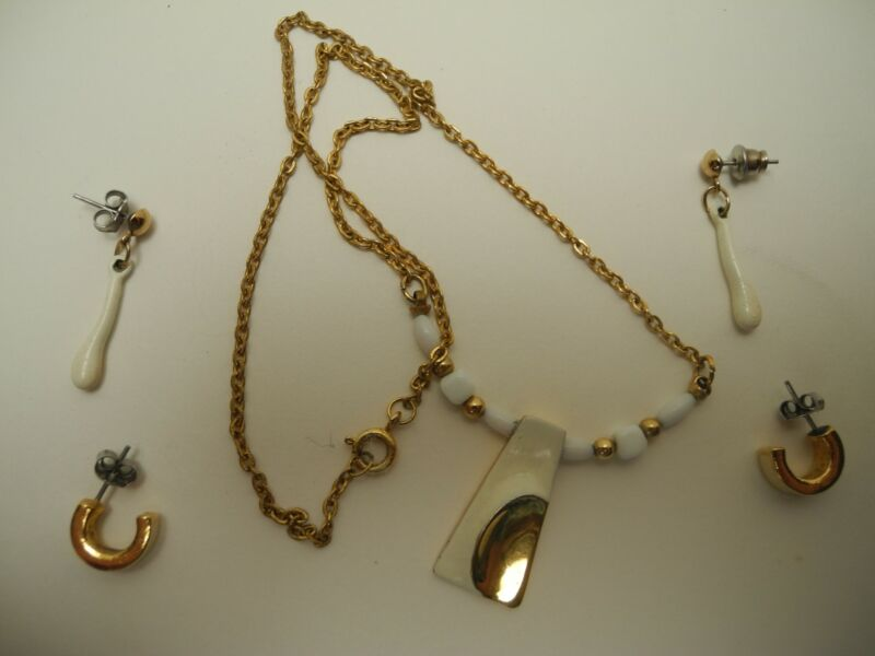 """White & Gold 15"""" Necklace and 2 Pair Earrings from Liberty Jewelers, St. Thomas"""