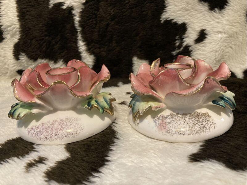 "(2) Vintage Rose Commodore Candleholders Japan  4"" diameter"