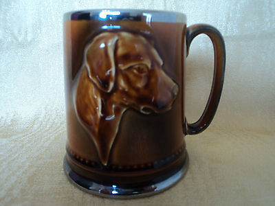 VINTAGE SYLVAC TREACLE GLAZE BEAGLE/HOUND DOG/WHIP/HAT/HORN DESIGN-HUNTING CUP