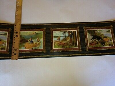 CAMPING STORY, BEARS, CANOE IN RUSTIC FRAMES PREPASTED WALLPAPER BORDER OA8072B