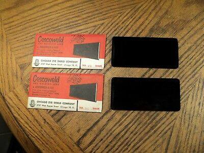 Vintage Pair Cescoweld Arc Welding Lenses 4-14 X 2 Shade No. 6