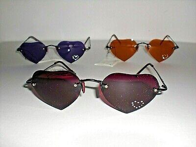 Sonnenbrille, Retro, Herzform rote, orange oder lila, Herz, Gläser mit Steinchen