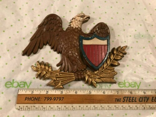 Vintage Sexton USA Cast Aluminum Orig. Paint Federal Eagle Wall Plaque, Free S/H