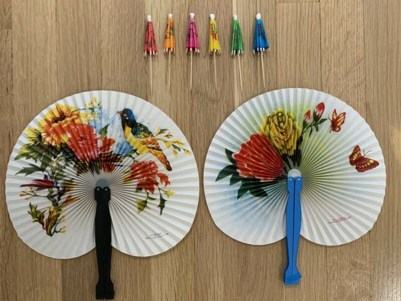 Lot of 2 Chinese Folding Fans and 6 Umbrellas China
